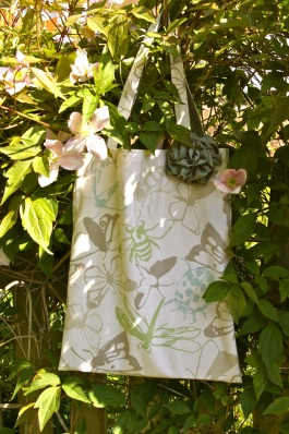 sturdy cotton book bag with rose