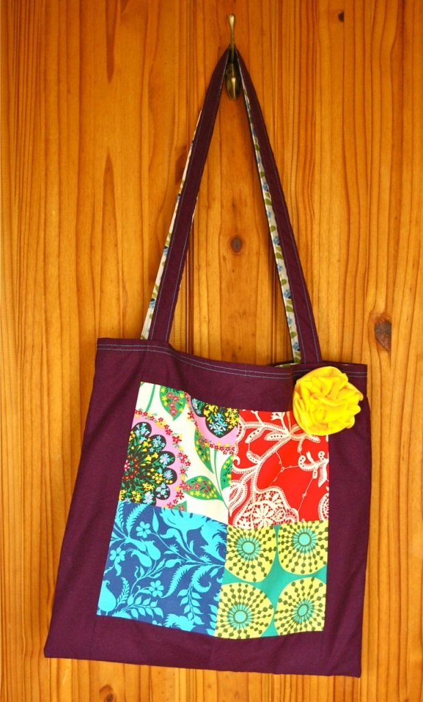 patchwork bag with purple border
