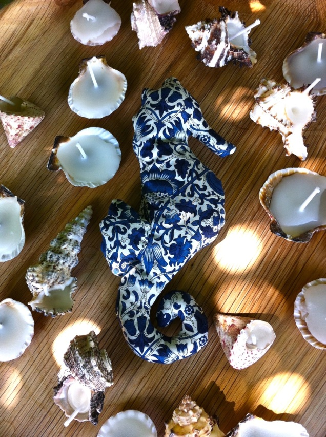 lavender sea horse and sea shell candles
