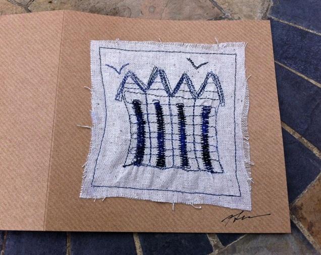 beach hut free-motion sewn card