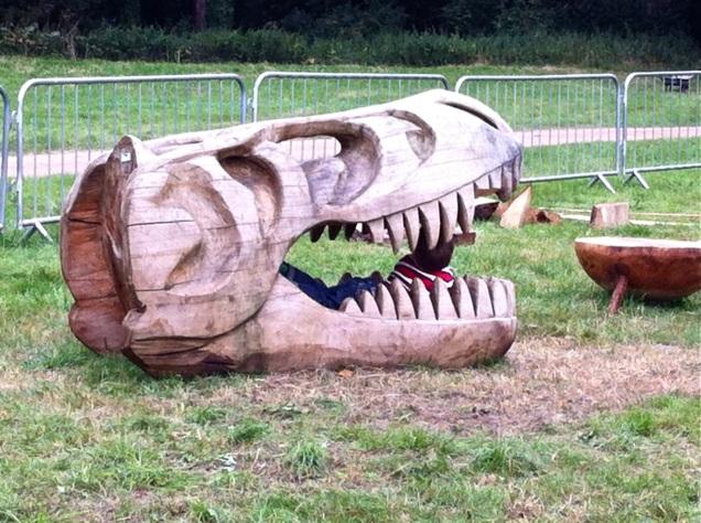 wooden t-rex skull at Treefest