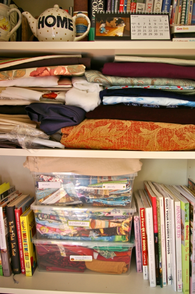 neatly sorted fabric stash