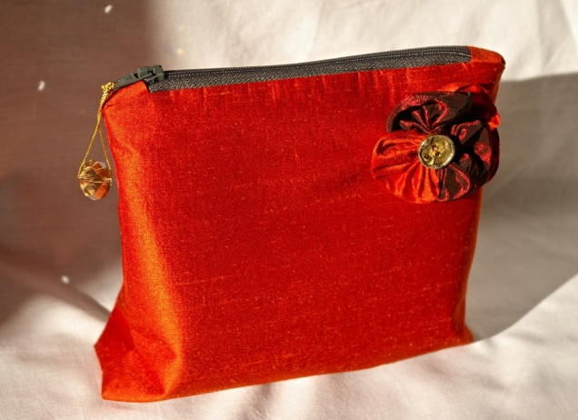dupion silk zipper pouch with pansy detail