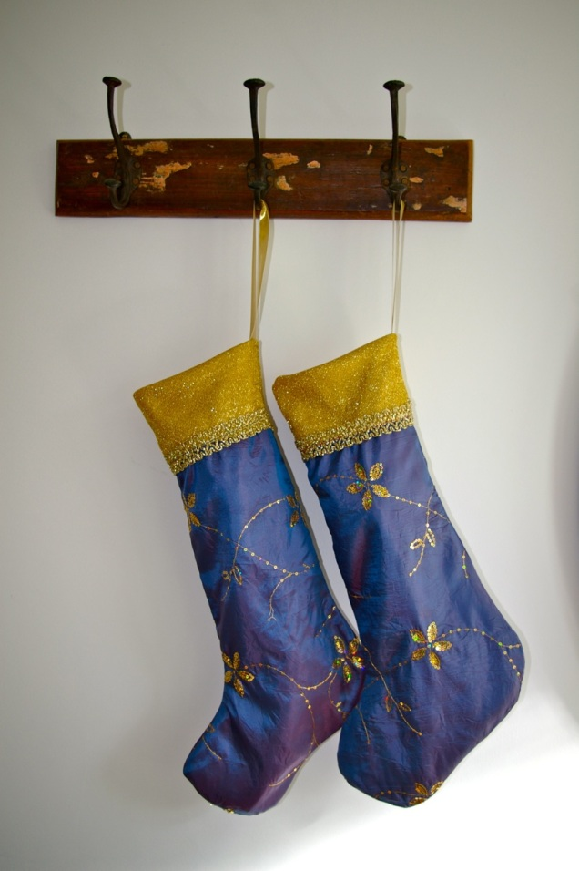 glittery blue and gold Christmas stocking