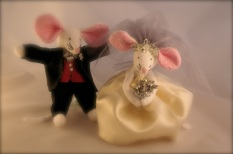 soft focus mouse bride and groom