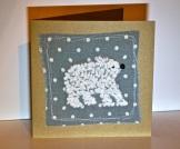 French knot polar bear Christmas card