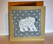 French knot polar bear Christmas card