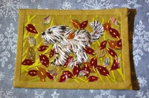 little dog 'Autumn' artist trading card