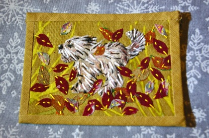 little dog 'Autumn' artist trading card