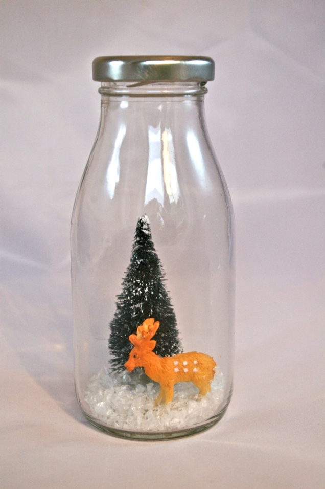 old fashioned milk bottle snow scene