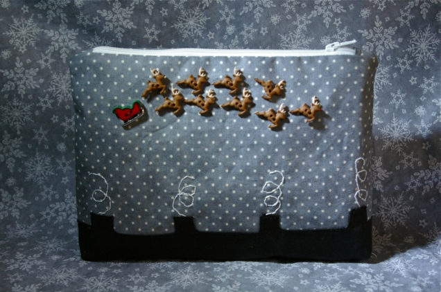 Santa's coming to town zip pouch