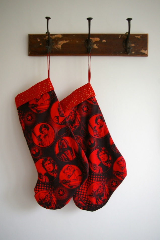 red and black Star Wars stockings