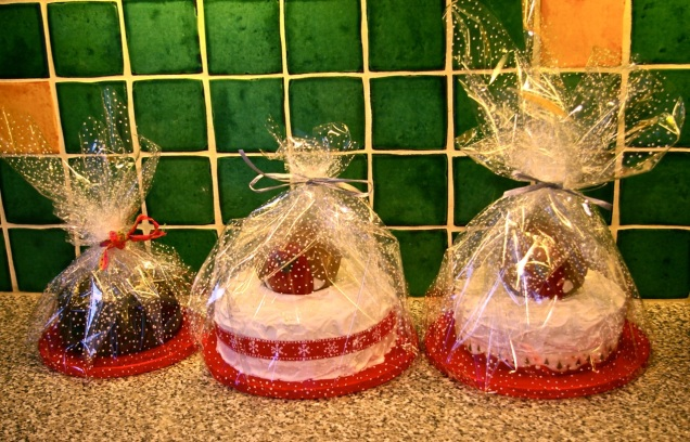 Christmas cakes wrapped and ready to go