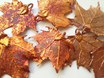 copper maple leaf pendant by Shy Faerie on Etsy.com