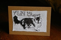 free motion machine embroidery cat's whiskers Valentine's card
