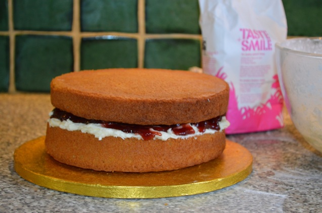victoria sponge with vanilla butter cream and raspberry jam