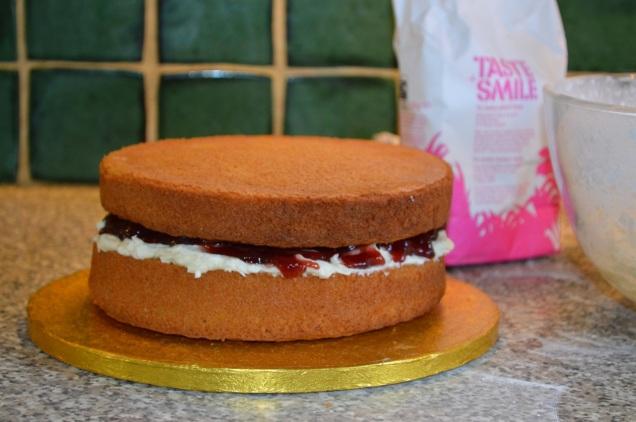 victoria sponge with vanilla butter cream and raspberry jam
