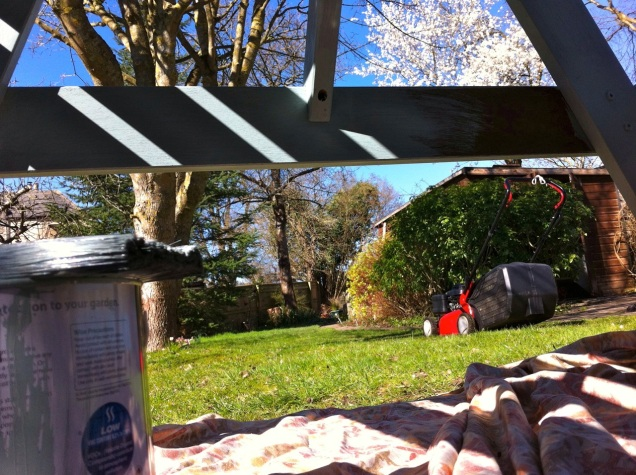 a painter's eye view of the garde...from under the picnic table