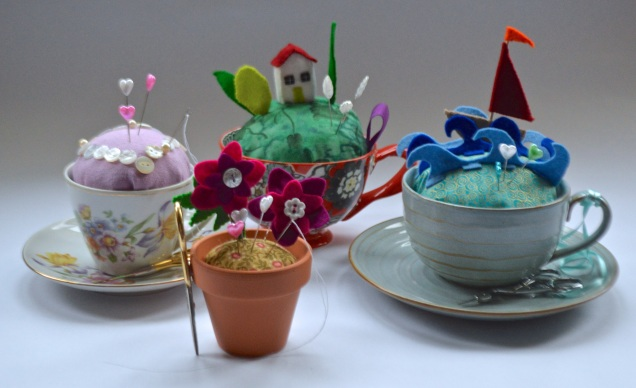 teacup and flower pot pincushions
